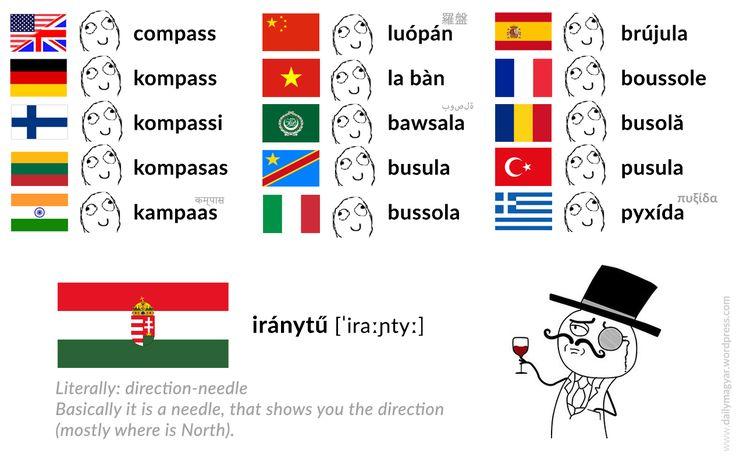 iránytű [ˈiraːɲtyː] – compass [Literally::: direction-needle] #unique #Hungarian #language #compass #iránytű