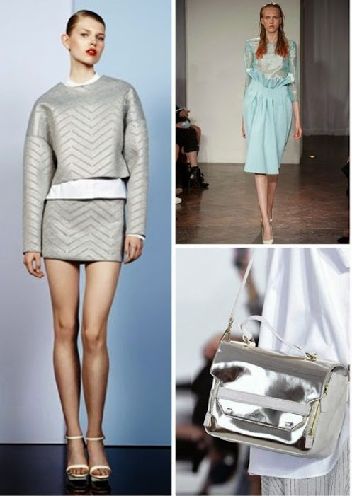 METALLIC PASTELS! Cacharel, Felder Felder and Philosophy S/S 2014