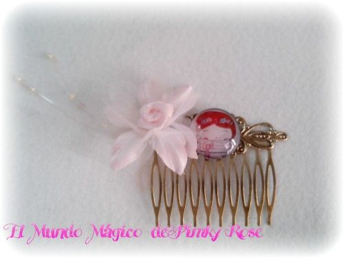 Para las comuniones de las nenas un adorno especial con cabuchón ( diseño original de Pimky Rose)