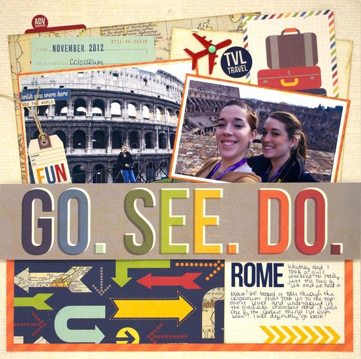 Go See Do Travel Layout - SImple Stories  It is the large colored letters that I love!