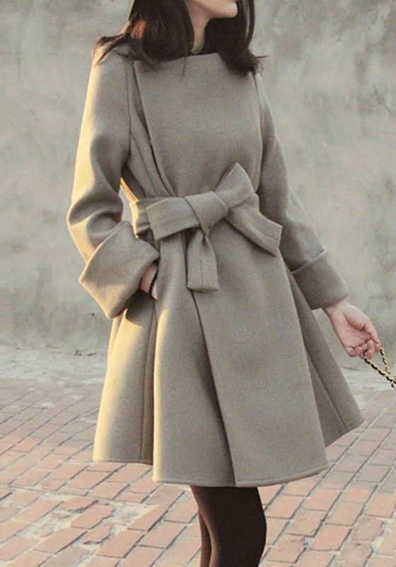 Chic + Cozy! Camel Bowknot  Belt Turndown Collar Long Sleeve Coat #Chic #Winter #Coat #Fashion