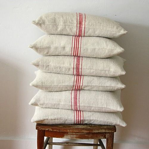 feed sack pillows: Pillows Covers, Red Stripes, Grains Sacks, French Linens, Linens Pillows, Burlap Pillows, Sacks Pillows, Feeding Sacks, Antiques Linens