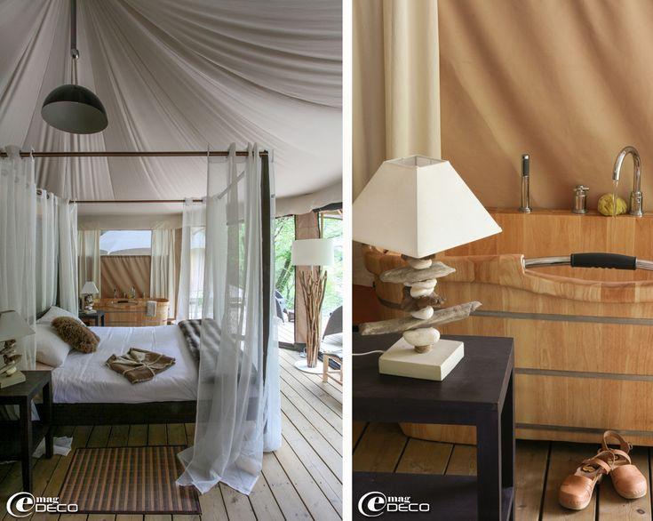 Au Lodge du Pont d'Arc, lit à baldaquin Maisons du Monde équipé de rideaux L'affaire des Doubles Rideaux, descente de lit Zara Home