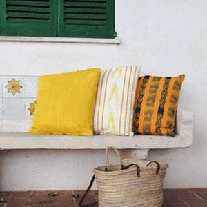 Natural materials which are essential to a serene and rural atmosphere. #ikat #handmade #mediterranean