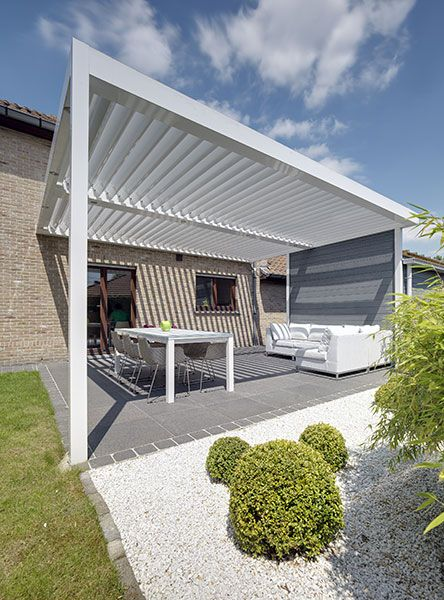 Umbris Patio Roof | Automated Louvre Roof Over Patio Of Traditional Brick  Home , Aluminium Legs