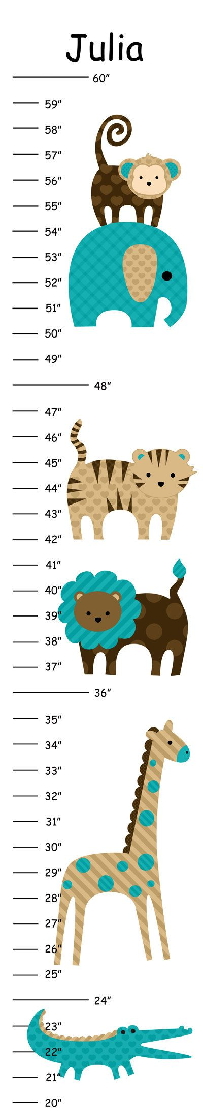 Personalized Chocolate and Teal Jungle Animals Canvas Growth Chart
