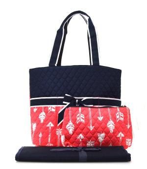 Monogrammed Diaper bag/monogram diaper bag/Navy and coral Aztec arrow Diaper bag/ bags /purse by sewsassybootique on Etsy