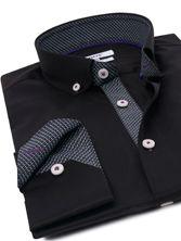 Chemise homme noire doublure à motifs button down collar