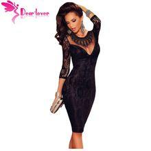 DearLove yeni varış 2016 womens seksi elbiseler Siyah Dantel 3/4 Kollu Işlemeli Kolye Parti Elbise Vestido De Inverno LC60856(China (Mainland))