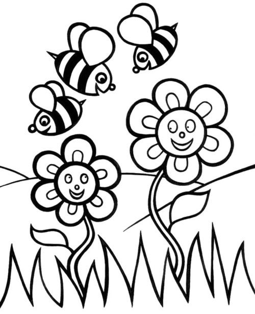 Spring Flower And Bees Coloring
