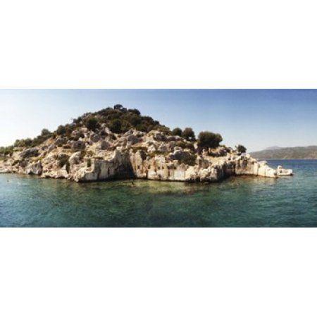 Rocky island in the Mediterranean sea Sunken City Kekova Antalya Province Turkey Canvas Art - Panoramic Images (30 x 14)
