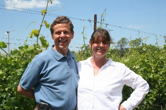 Prince Edward County: The Grange of Prince Edward Vineyards and Estate Winery - With Caroline Granger, President and CEO of the Winery in one of the 60 acres under vine. Caroline was my host and guest on the Travel Show we broadcast from the vineyard in June 2012.