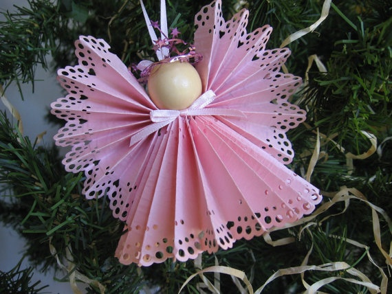 Angel Christmas Tree Ornament Pink Paper Lace by SnowNoseCrafts, $4.00
