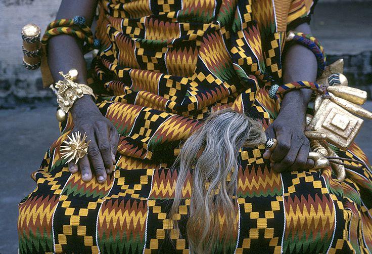 Africa | Paramount Chief ornate bracelet, gold finger-ring, ceremonial fly whisk and kente cloth robe, Kumasi, Ghana | © Eliot Elisofon, 1970