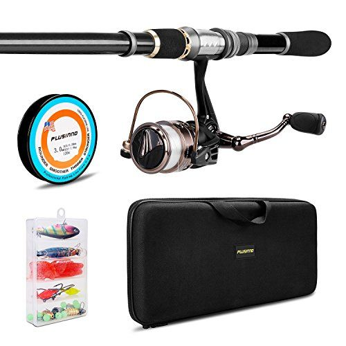 PLUSINNO Telescopic Fishing Rod and Reel Combos FULL Kit, Spinning Fishing Gear Organizer Pole Sets with Line Lures Hooks Reel and Fishing Carrier Bag Case Accessories Outdoor Store [gallery]  Best gift for father ,son ,boyfriends ,fishwomen and x'mas  Fishing Rod Detail:  1.Telescopic finshing rod pole is sensitive graphite blank construction  2.Aluminum oxide guide inserts fishing pole  3.Stainless Steel Hooded Reel Seats make the fishing rods all the time brightness cause anti-seawater…