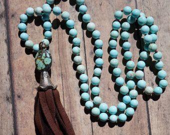 Turquoise en lederen Manchet armband westerse door fleurdesignz