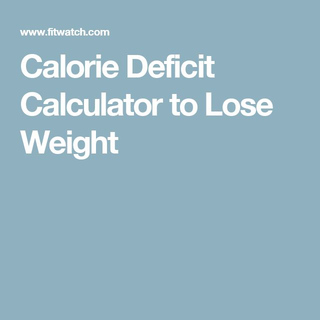 Calorie Deficit Calculator to Lose Weight