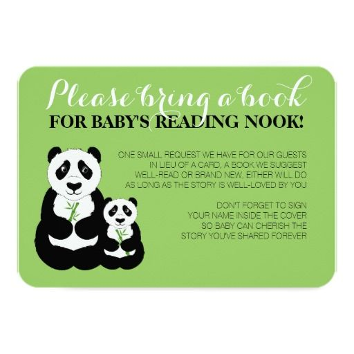 Panda Baby Shower Green Book Request Enclosure Card