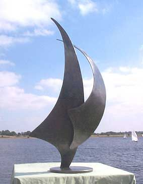 metal sculpture of a sail boat, an ideal sailing trophy