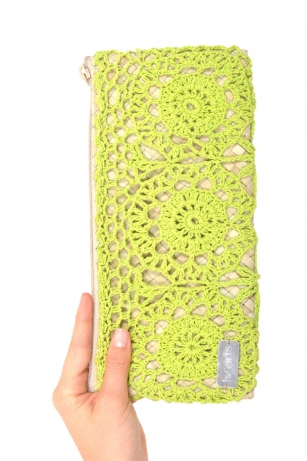 Electric green crochet clutch, handwoven in Indonesia. $32 on Ethical Ocean. #sustainablefashion #handmade