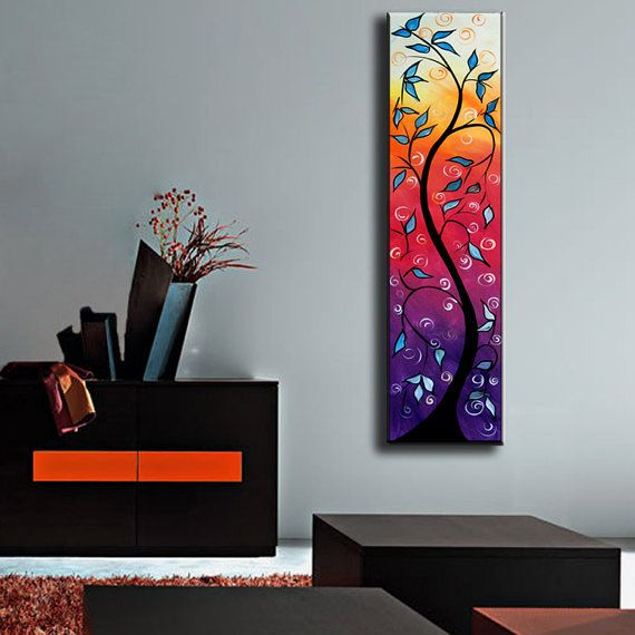 """ORIGINAL Art Painting 48""""X12"""" modern abstract painting blue, red, green sofa knife art direct from the artist, free shipping"""