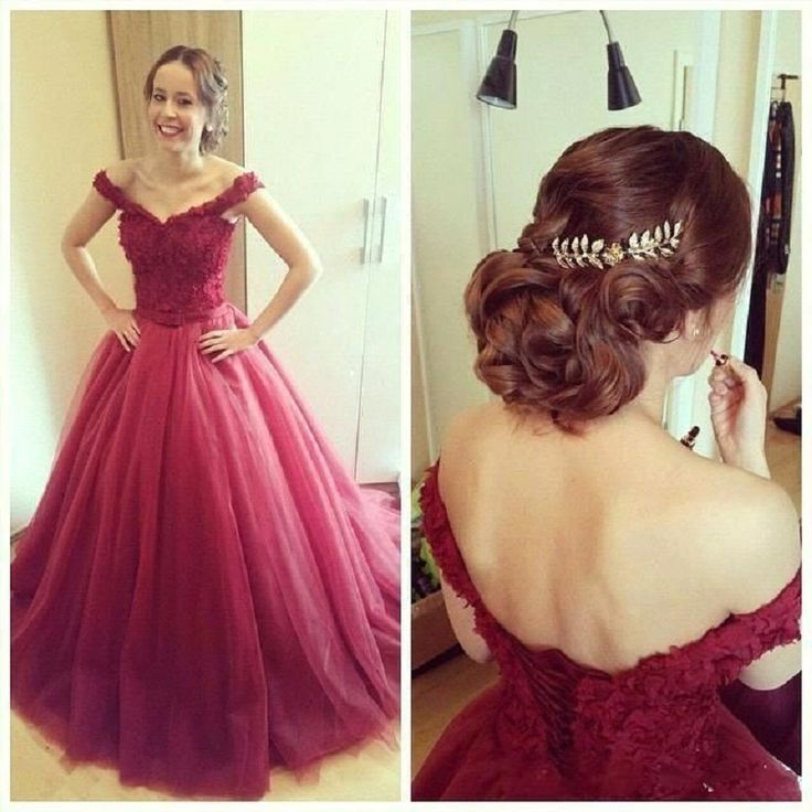 Buy Puffy Burgundy Long Prom Dresses Off The Shoulder Lace Up Back Princess Teens Party Dress Abiti da Ballo di Fine Anno on Suzhou Relia Formal Dress