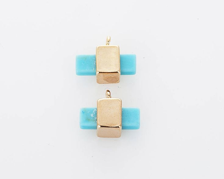 [G0246-PGTQ] ================================================== Howlite Gemstone Pendant, Turquoise Rectangle Shaped Pendant Polished Gold Plated - 2 Pieces ===============...