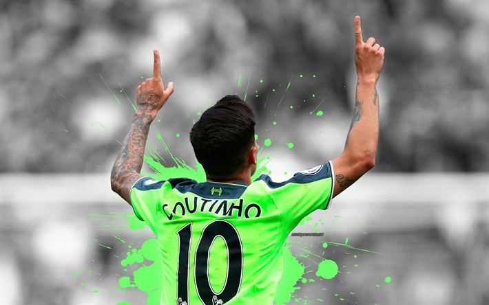 Download wallpapers Coutinho, 4k, grunge, Liverpool, footballers, art, Philippe Coutinho, Premier League, green uniform, Phil Coutinho