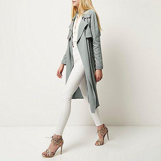 Blue-grey draped trench coat