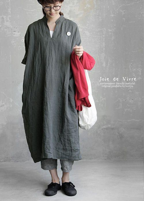 【送料無料】Joie de Vivre ベルギーリネンワッシャー スキッパーロングワンピース