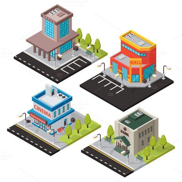 Vector isometric buildings set. $5.00