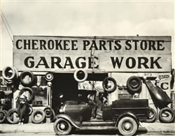 WALKER EVANS (AMERICAN, 1903-1975) Pair of Works i) Cabin Interior 1936 ii) Atlanta Garage 1936 silver gelatin copy print