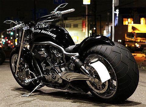 black, cool, motorcycle, wide, tire, bike