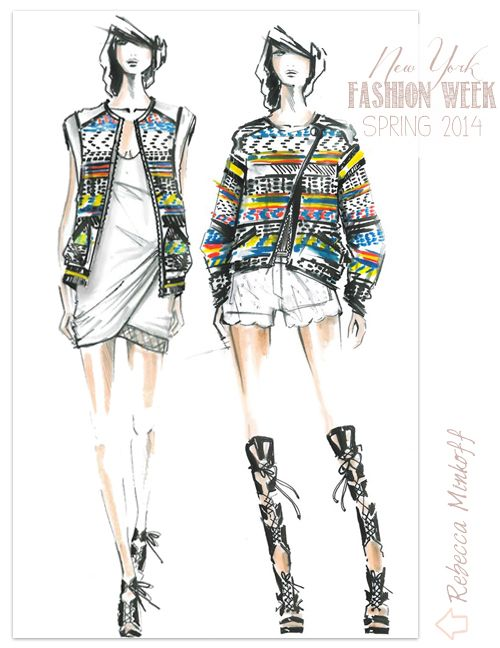 Designer Sketches from NY Fashion Week (Spring 2014) #RebeccaMinkoff #FashionIllustration #Sketch on Fabulous Doodles