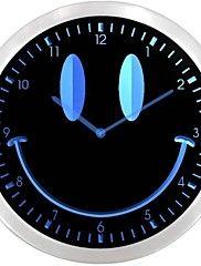 nc0928 Smiley Face Room Decor Neon Cadeau Inscrivez Horloge murale LED
