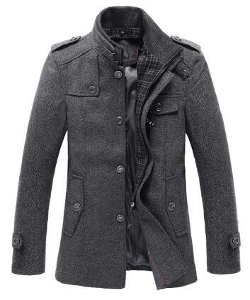 Stylish Stand-Up Collar Men's Mid-Length Wool Blend Coat M-3XL 2 Colors