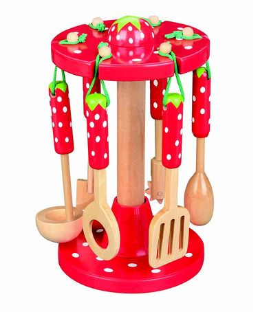 Strawberry Kitchen Utensils & Stand by MaMaMeMo on #zulilyUK today!
