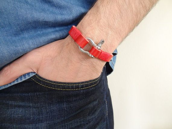 Unisex Red Leather Bracelet Unisex Jewelry Crome by sevinchjewelry