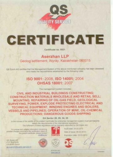 Certificate ISO 9001:2008 The certification audit of quality management system for compliance with the international standard ISO 9001:2008. The cost of the audit for small (numbering up to 100 people.) Companies is 3731 USD, including VAT.