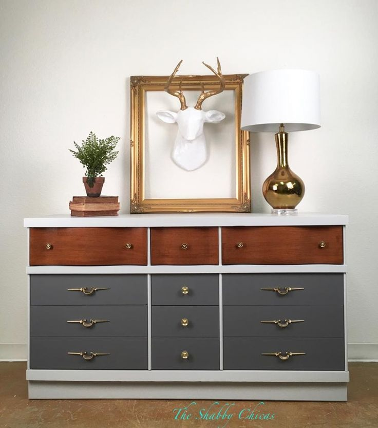 Mid Century Modern Dresser In Seagull Gray U0026 Driftwood.