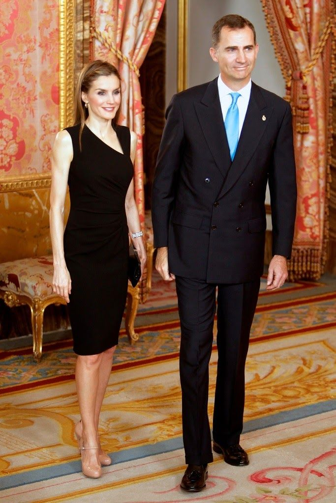 "10 JUNE 2014  Prince Felipe and Princess Letizia Prince Felipe and Princess Letizia attended a meeting with members of the ""Principe de Asturias Foundation"" at the Royal Palace  in Madrid."