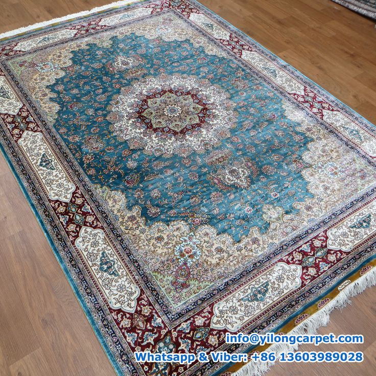Medallion Design Red Light Brown Green Blue Flower Pattern On The Base Material Silk Face And Fringe Density Size Available