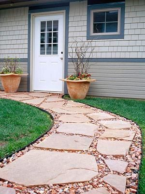 Patio Ideas With Red Pavers And Light Stone Gravel Walk