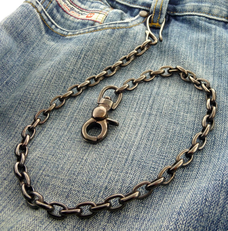 Gunmetal Black Biker Wallet Chain