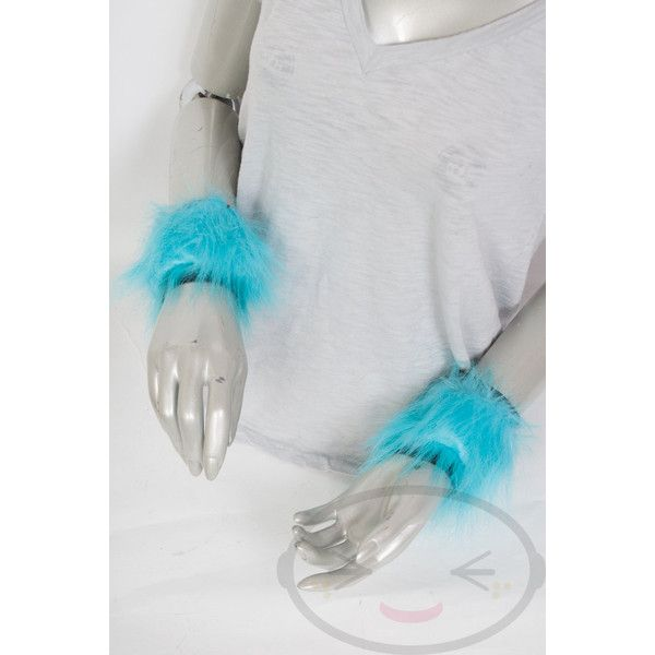 Teal Aqua Light Blue Furry Wrist Poof Cuffs Animal Costume, Rave,... (15 CAD) ❤ liked on Polyvore featuring costumes, cosplay costumes, goth halloween costumes, animal halloween costumes, gothic costumes and gothic lolita costume