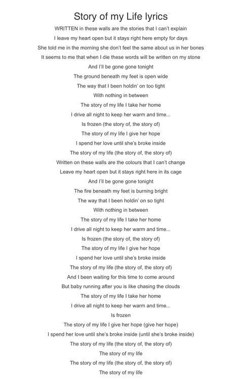 The Story if My Life lyrics. Don't mind me, I'll just be sobbing violently in the corner.