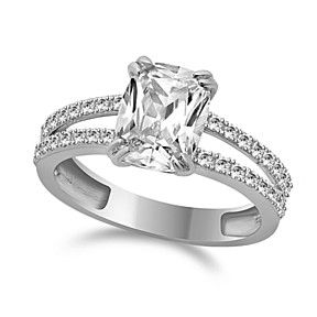 3.55 Ctw Ring Cushion Cut Solid 14K White Gold Bridal Jewelry VVS1 by JewelryHub on Opensky