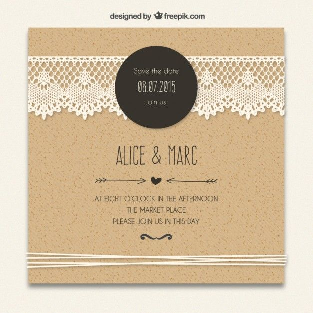 54 best freepick images on pinterest free vector art invitations cardboard wedding invitation with lacy decoration free vector stopboris Image collections