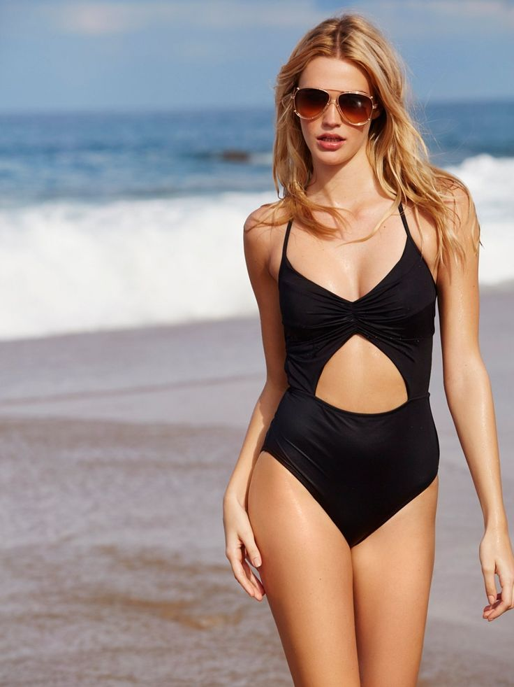 Flora Two Toned One Piece | One-piece swimsuit with ruching at middle of bust. Cutout at front of waist and lower back. Clasp closure at upper back. Halter neck ties. Lined. Designed by Jessica Tracy. Made in California.