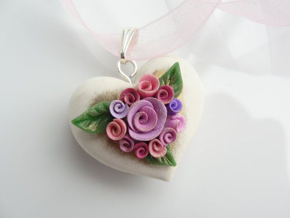 Vintage style pink rose heart in polymer clay by fizzyclaret